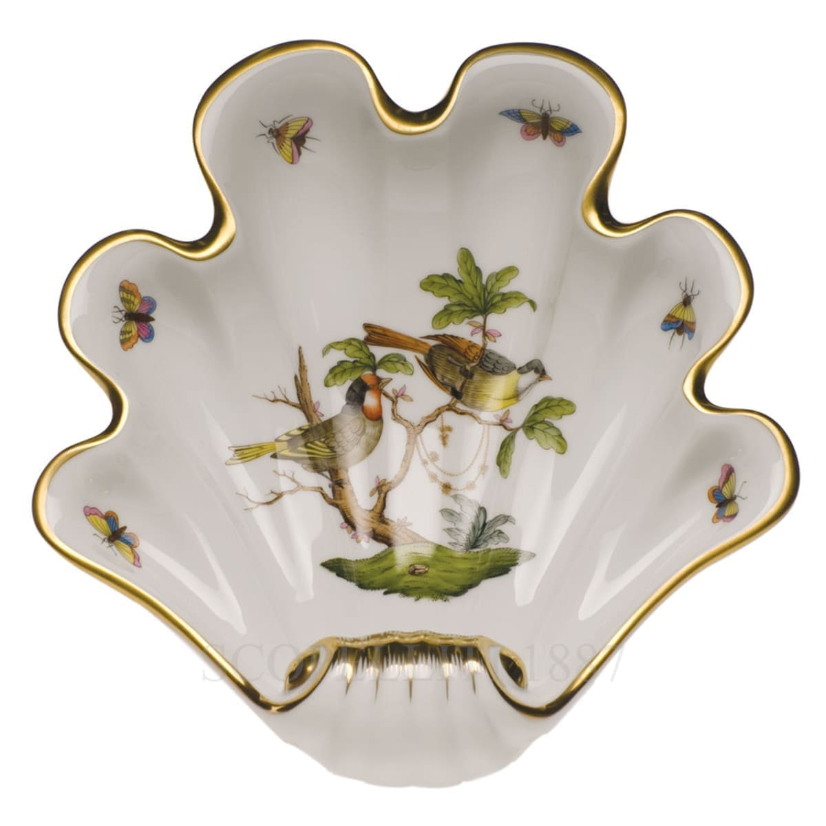 herend porcelain rothschild large shell tray