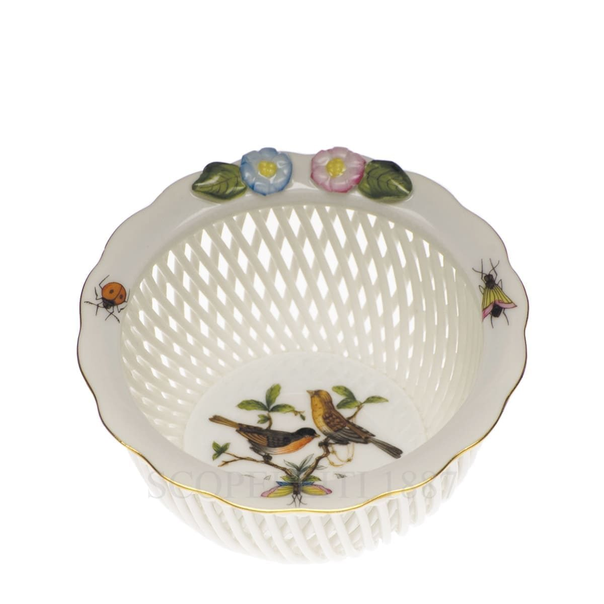 herend porcelain rothschild small basket