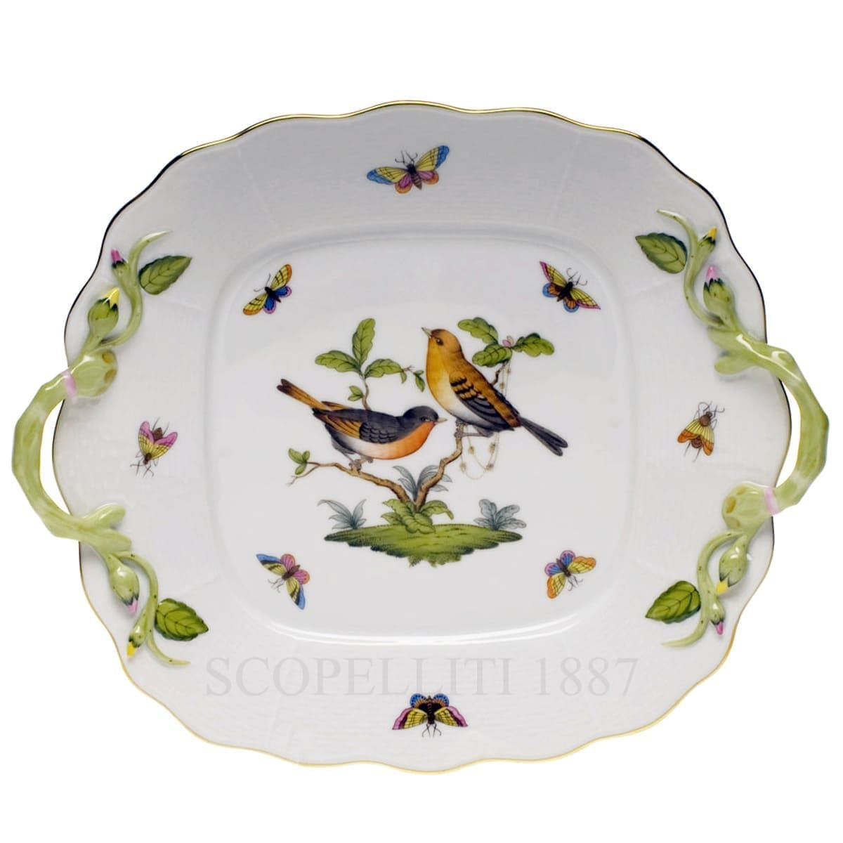 herend porcelain rothschild square cake plate
