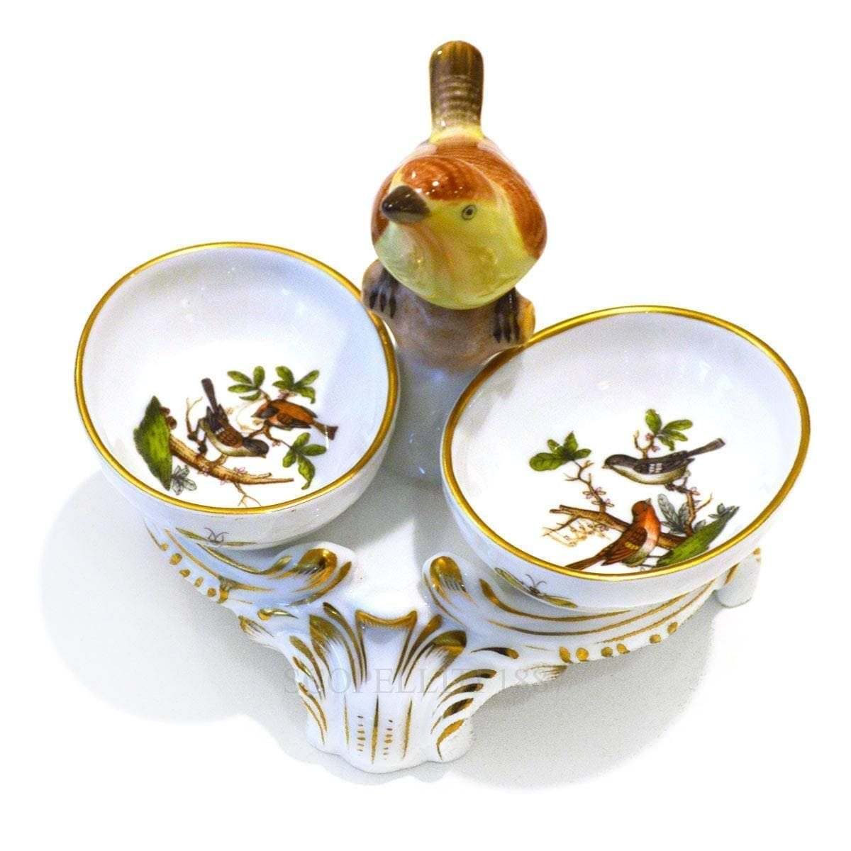 herend rothschild twin salt cellar bird knob