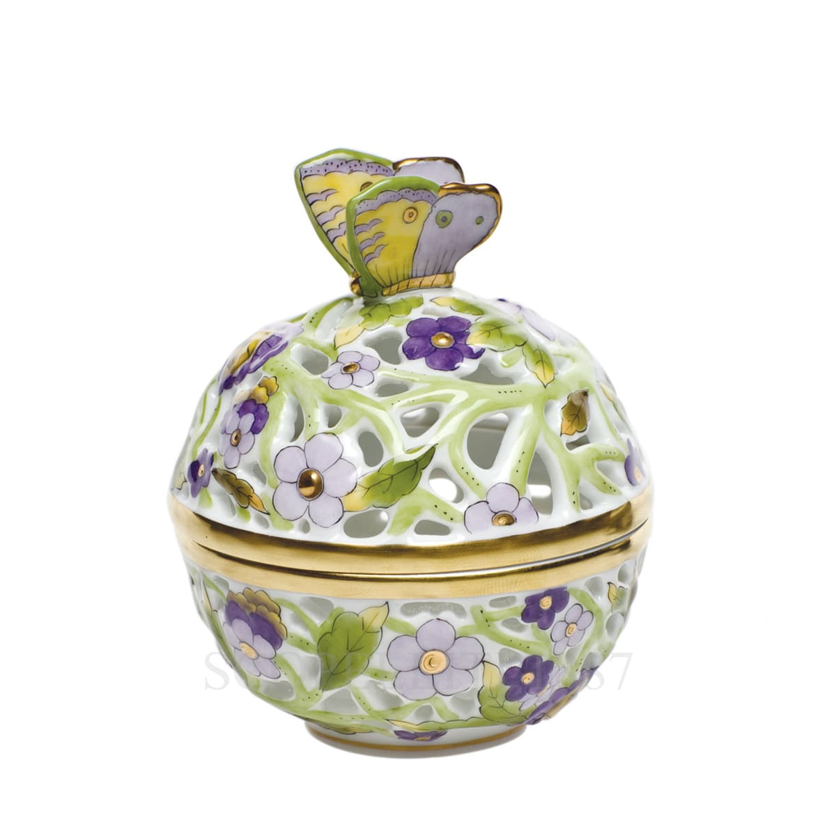 herend handpainted porcelain round box with butterfly