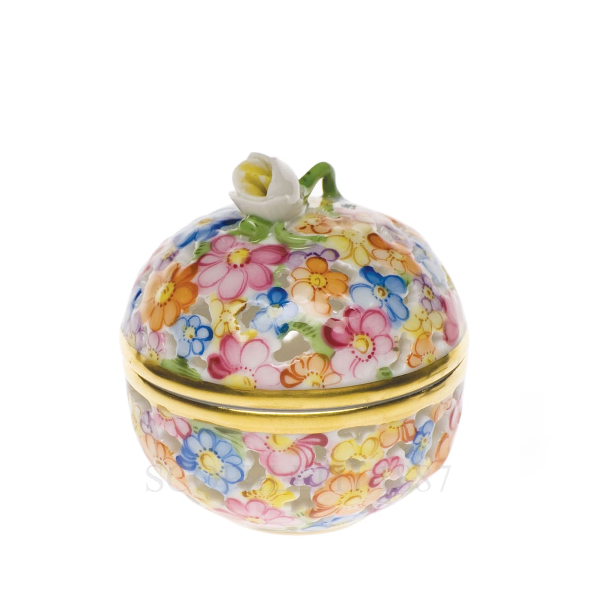 herend handpainted porcelain round box with rose