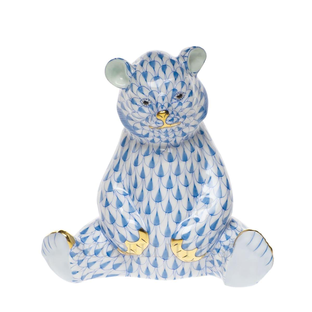 herend porcelain sitting bear figurine blue