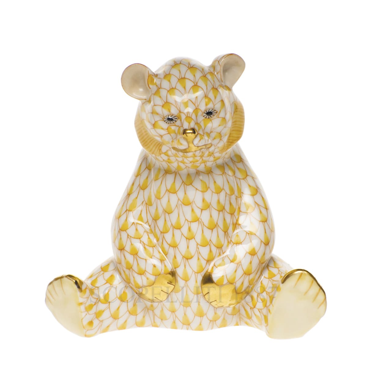 herend porcelain sitting bear figurine yellow