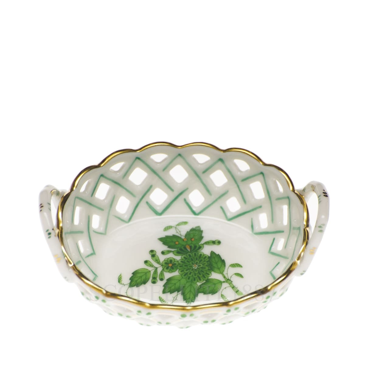 herend handpainted porcelain openwork basket small