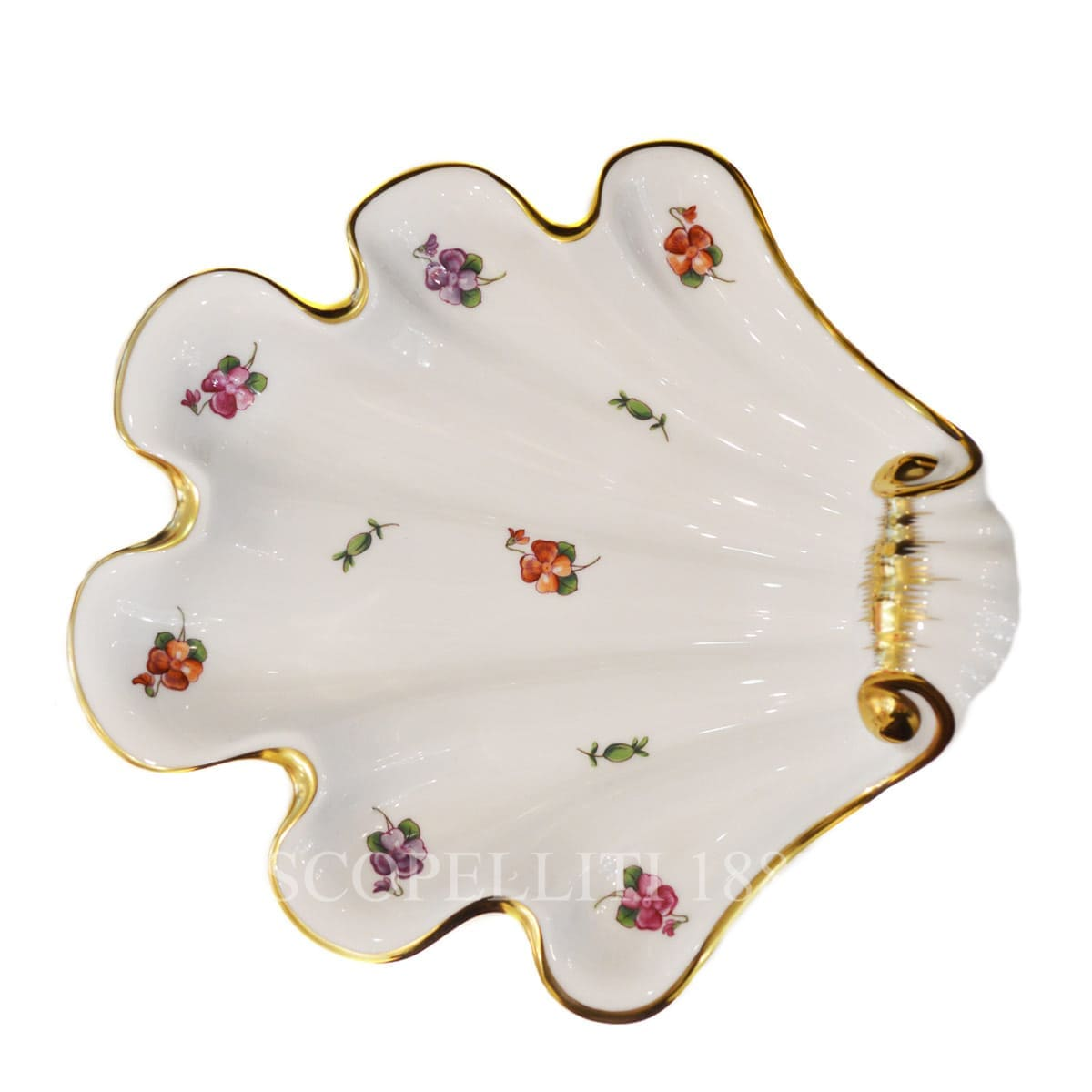 herend handpainted porcelain spring flowers large shell tray