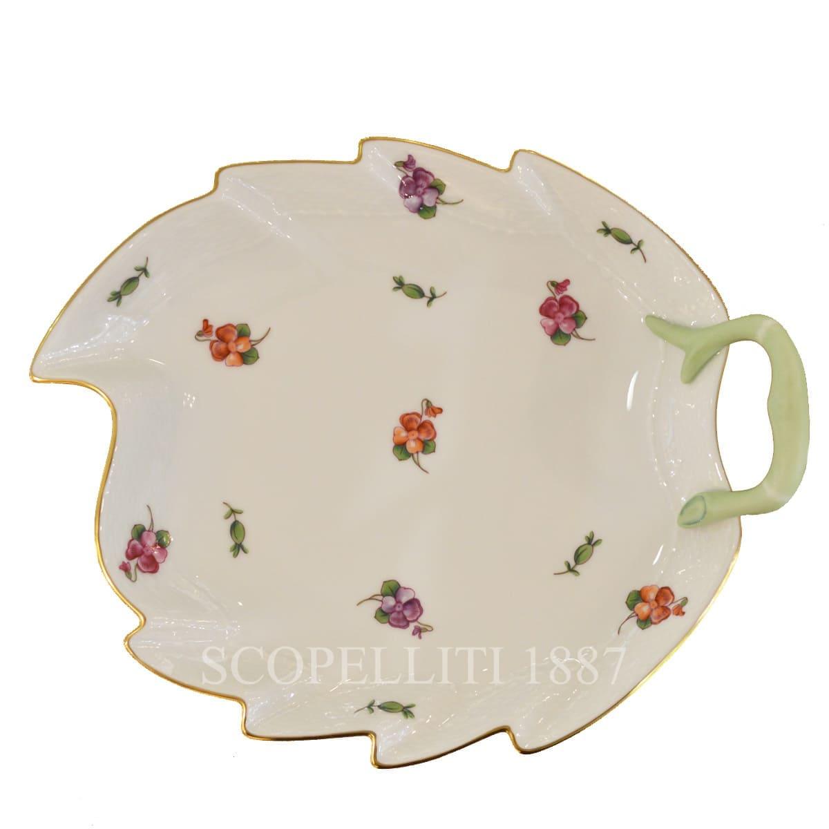 herend handpainted porcelain spring flowers leaf dish