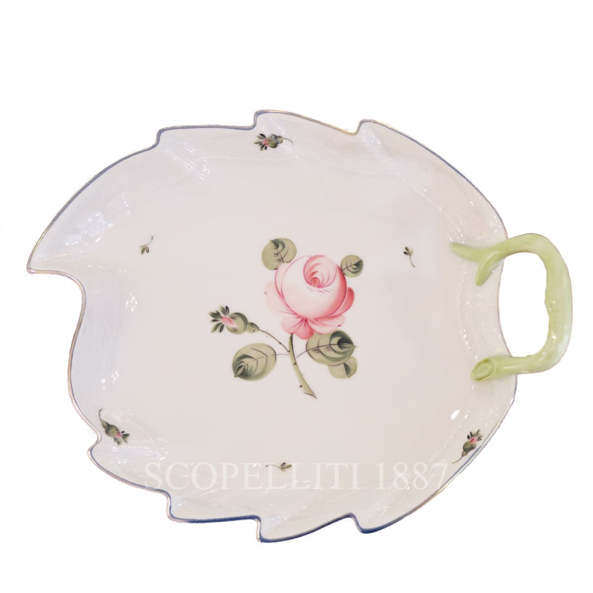 herend handpainted porcelain viennese rose platinum leaf dish