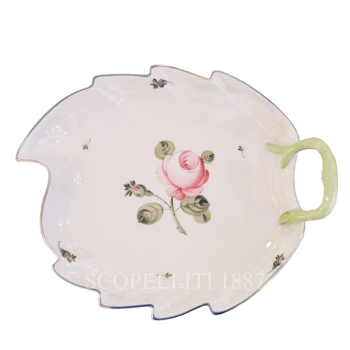 Herend Viennese Rose Platinum Leaf Dish 200-0-00 VGR-PT