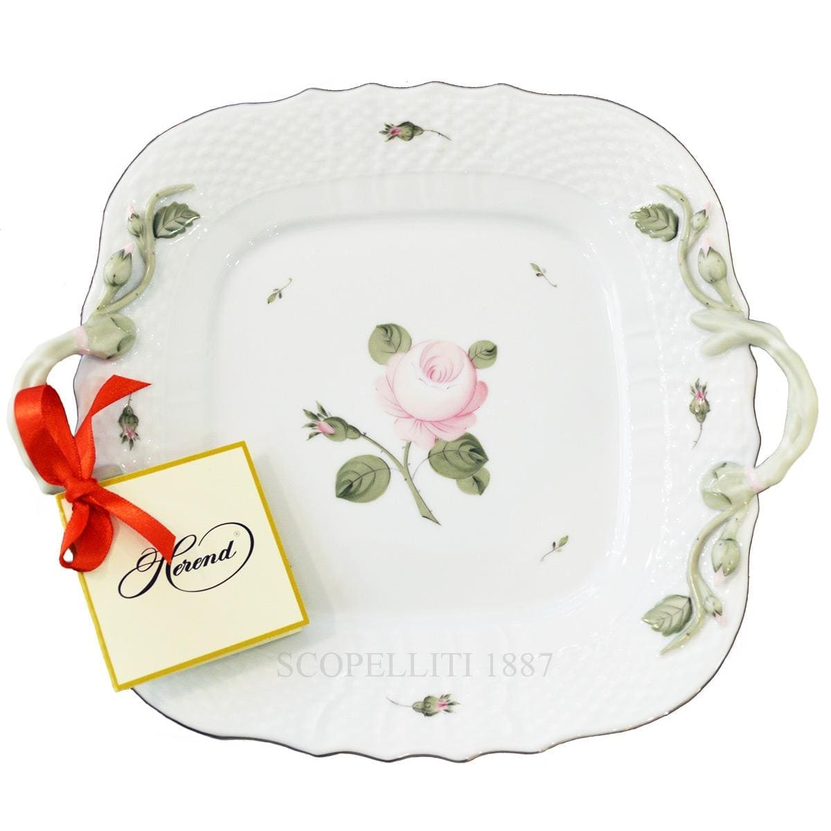 herend handpainted porcelain viennese rose platinum square cake plate green