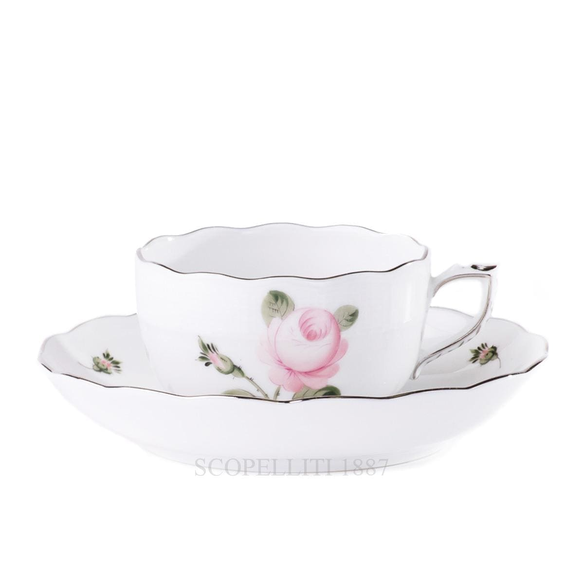 herend handpainted porcelain viennese rose platinum teacup and sauces