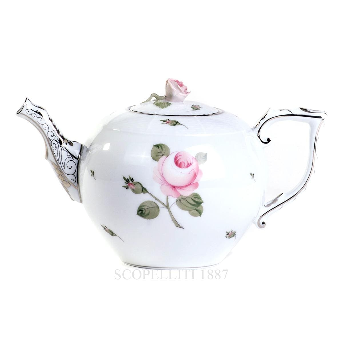 herend handpainted porcelain viennese rose platinum teapot with rose