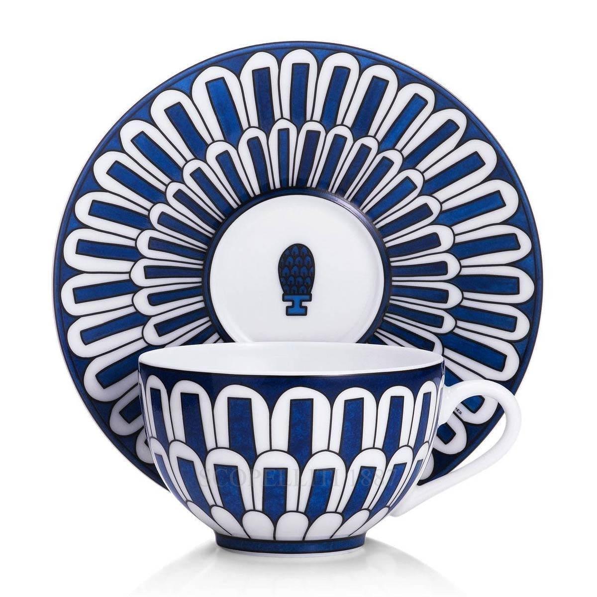 hermes paris bleus dailleurs designer porcelain teacup and saucer