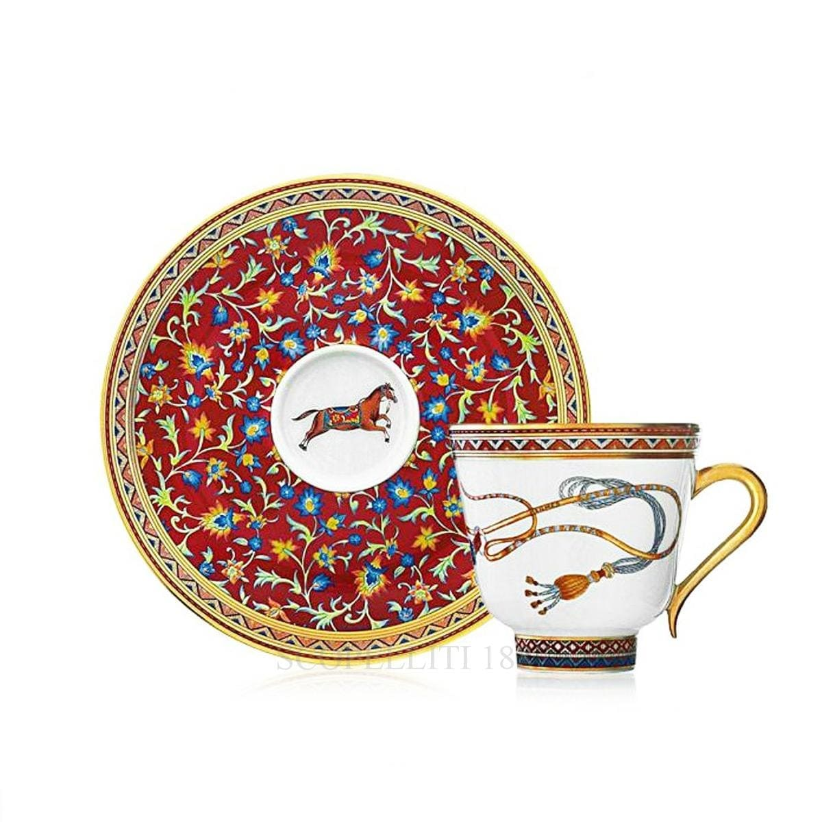 hermes paris cheval dorient designer porcelain coffee cup and saucer