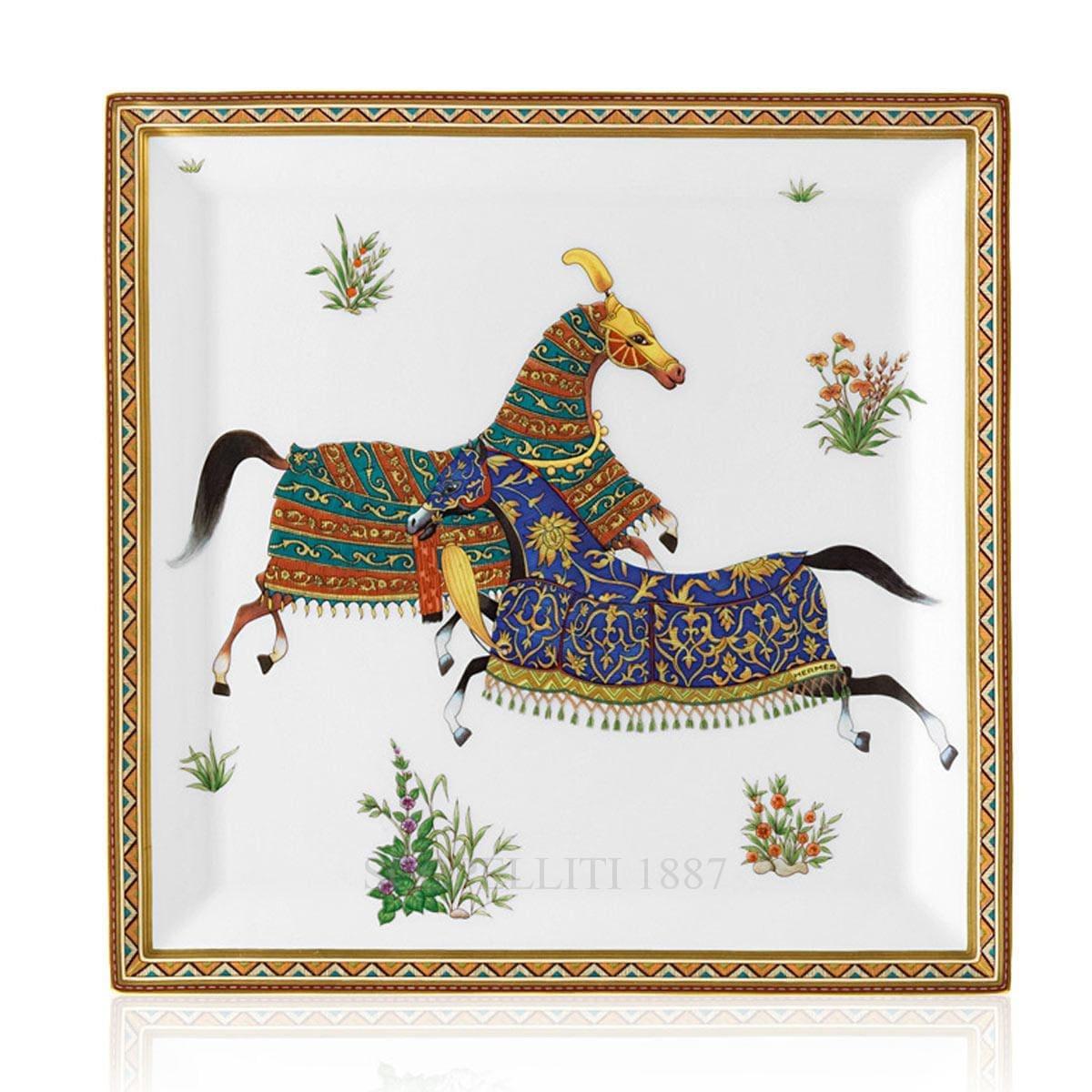 hermes paris cheval dorient designer porcelain square plate