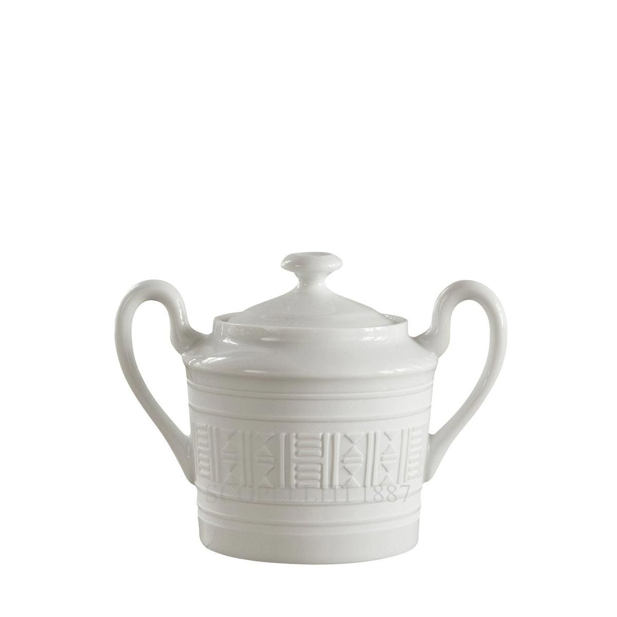 hermes egee white sugar bowl