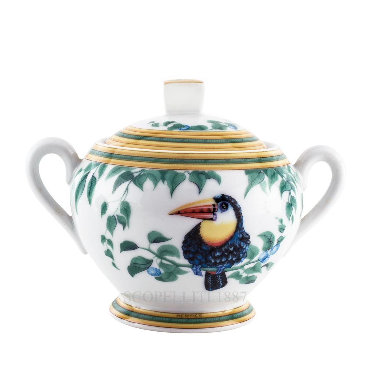 hermes toucans designer sugar bowl