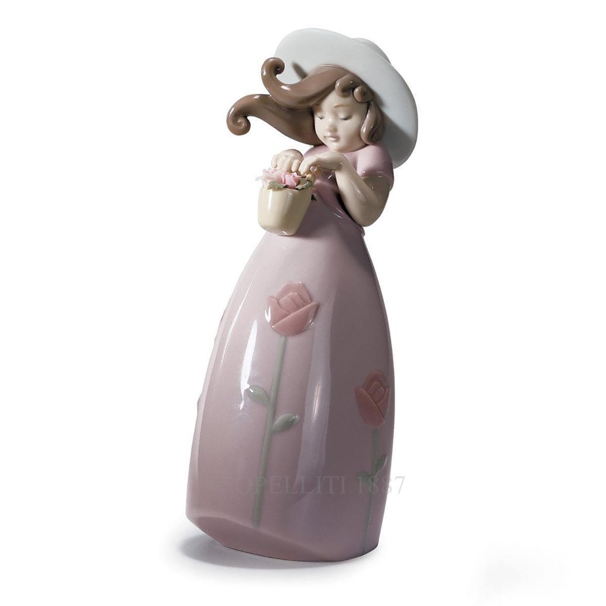 lladro little rose porcelain figurine spanish designer