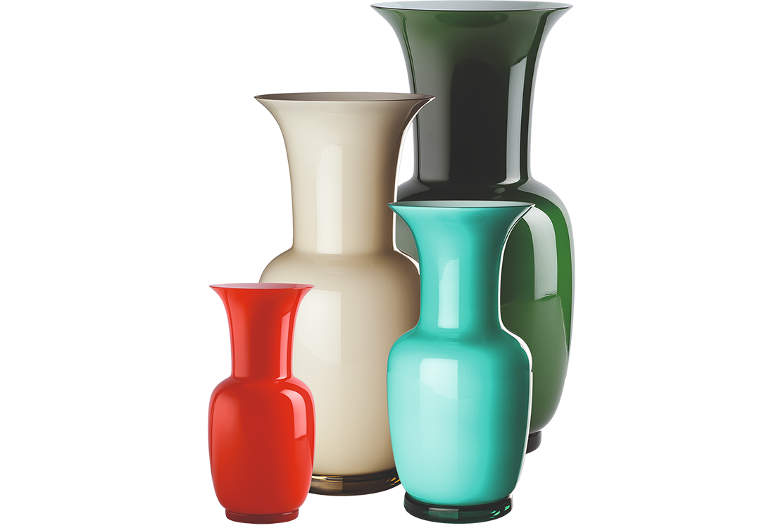venini murano glass vases opaline
