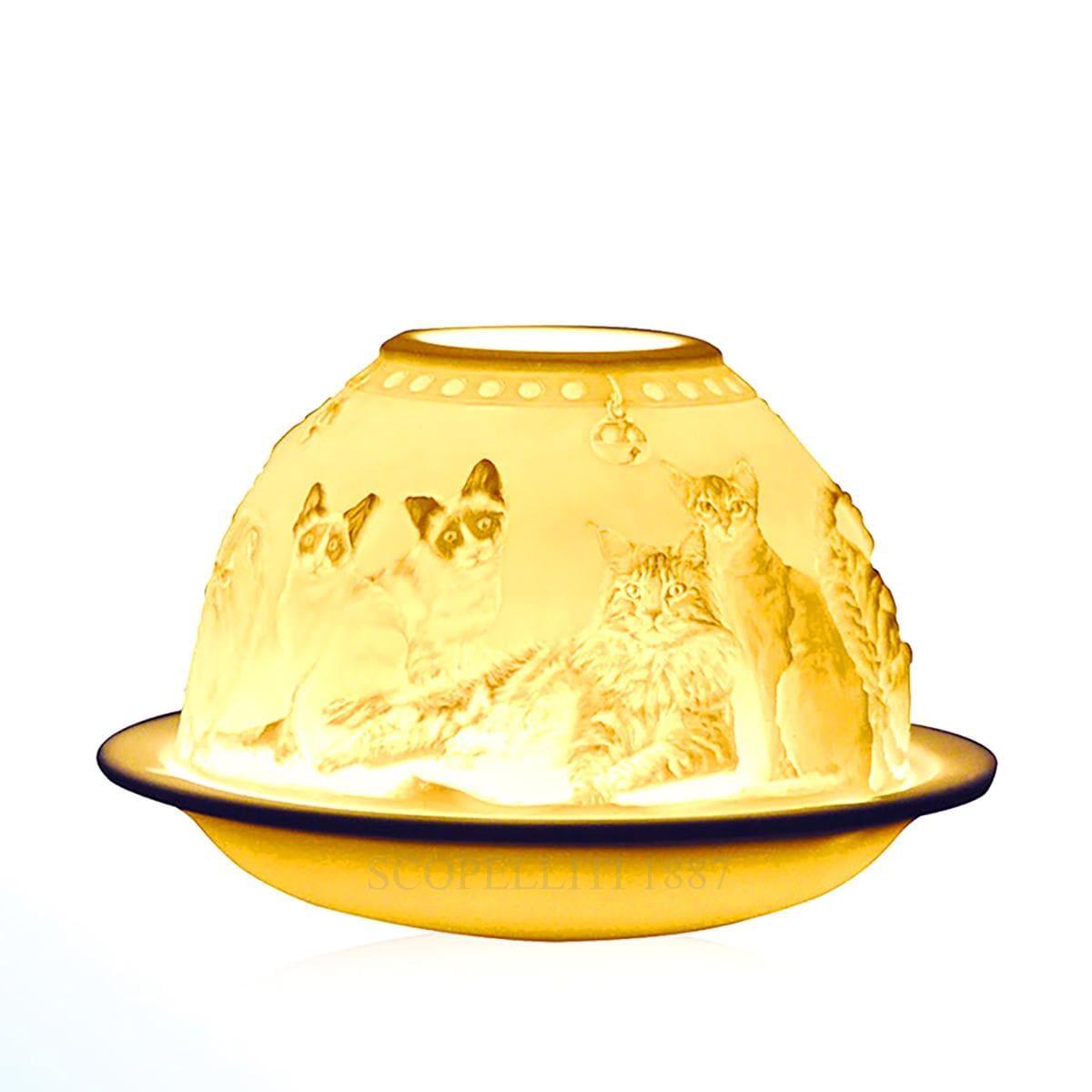 bernardaud designer cats votivelight bisque porcelain