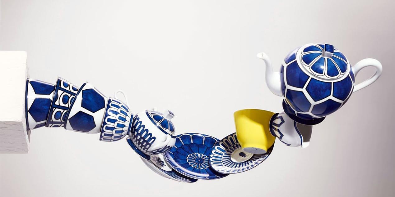bleus dailleurs set from hermes a decorative blue set of tebleware
