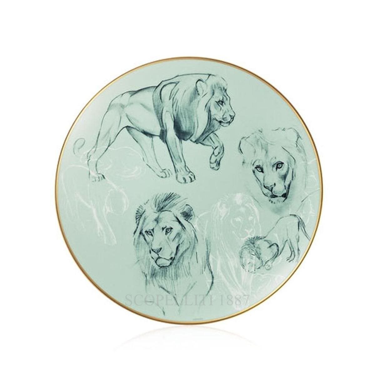 hermes paris carnets equateur bread and butter plate lions theme