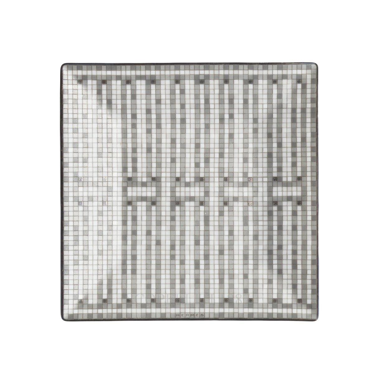 hermes mosaique au designer platinum square plate
