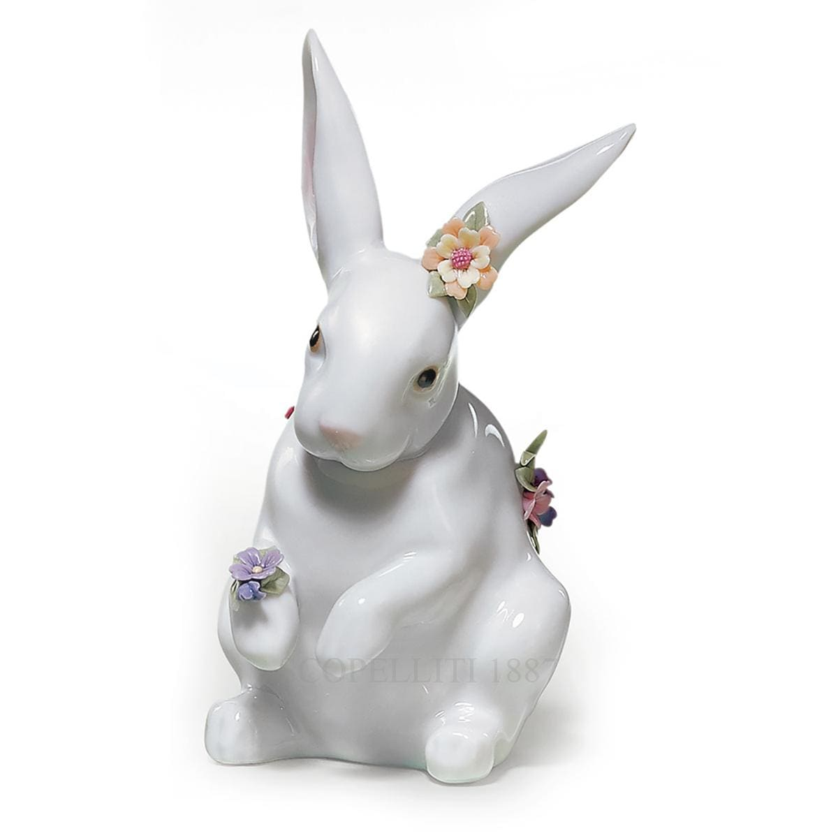 lladro sitting bunny with flowers porcelain figurine