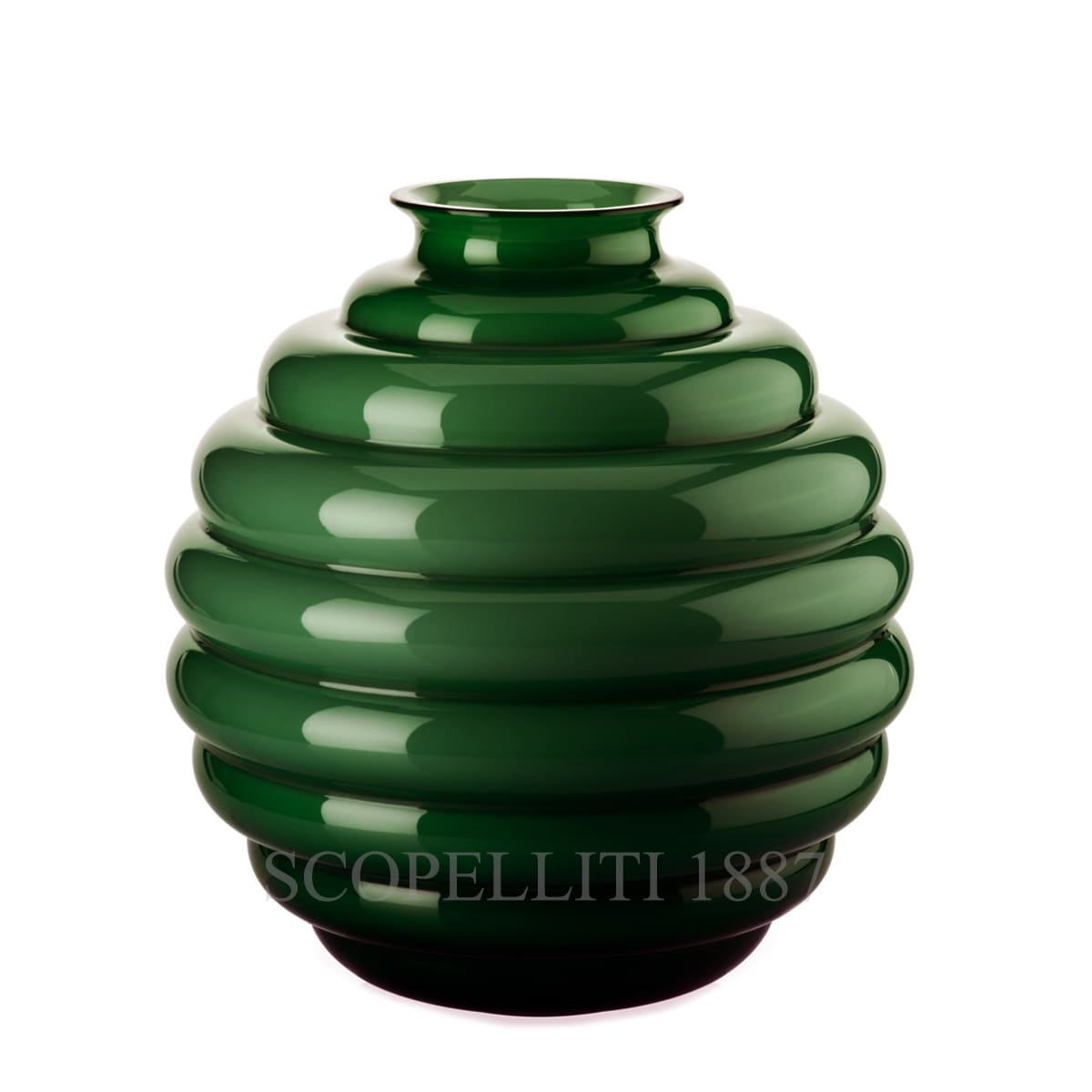 venini italian design deco vase large apple green