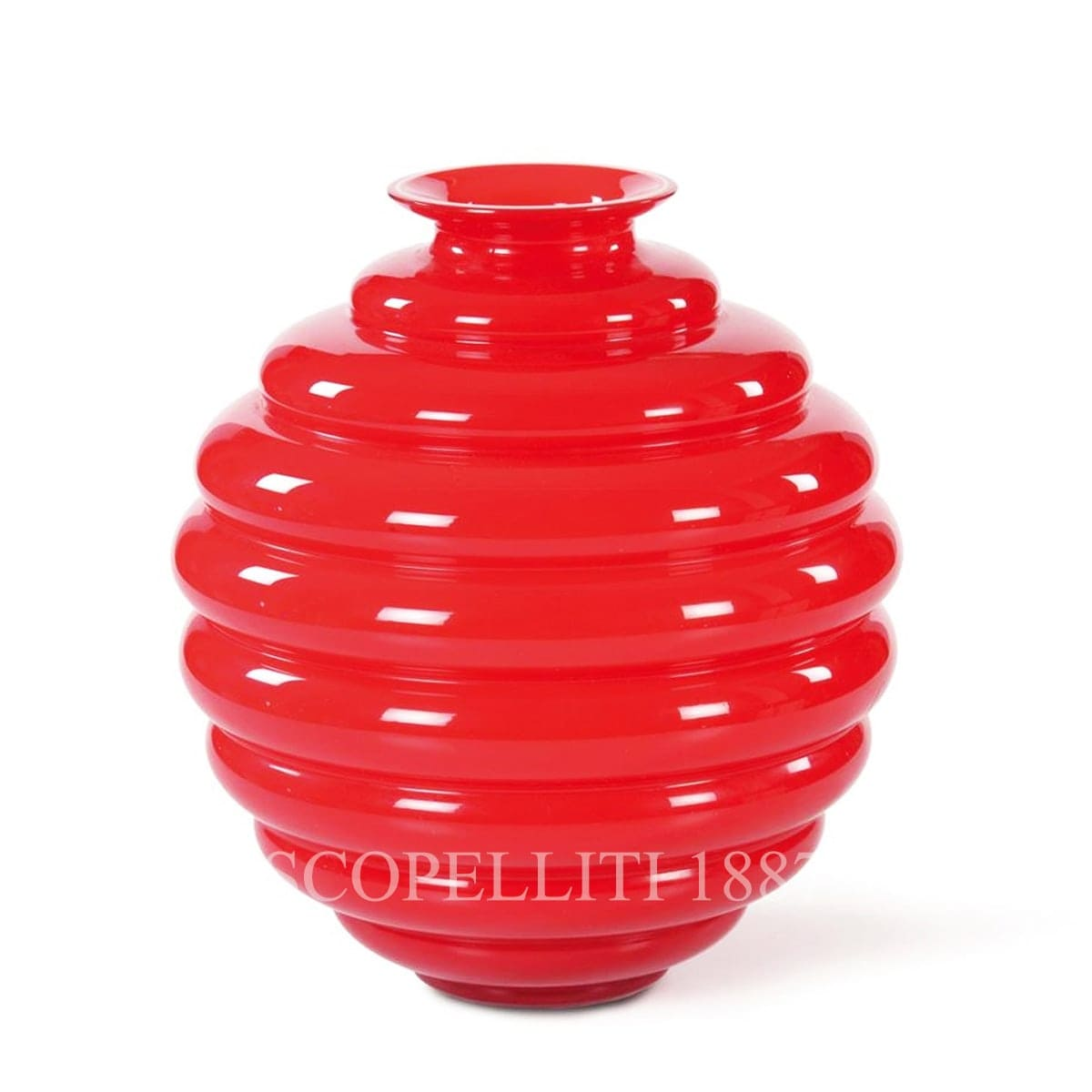 venini italian design deco vase large red