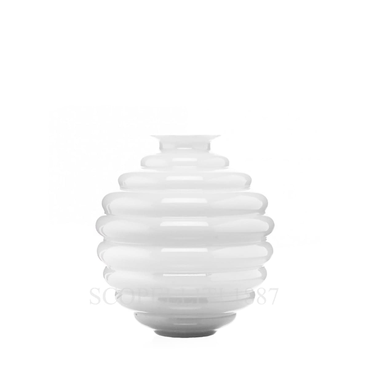 venini italian design deco vase small milk white