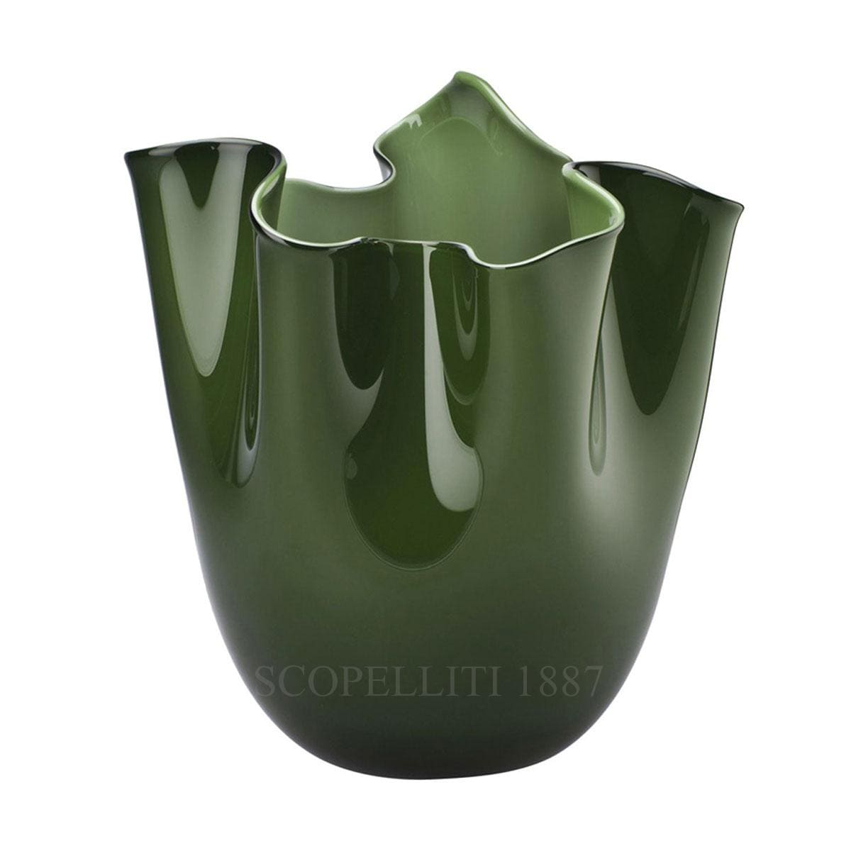 venini fazzoletto green vase murano glass