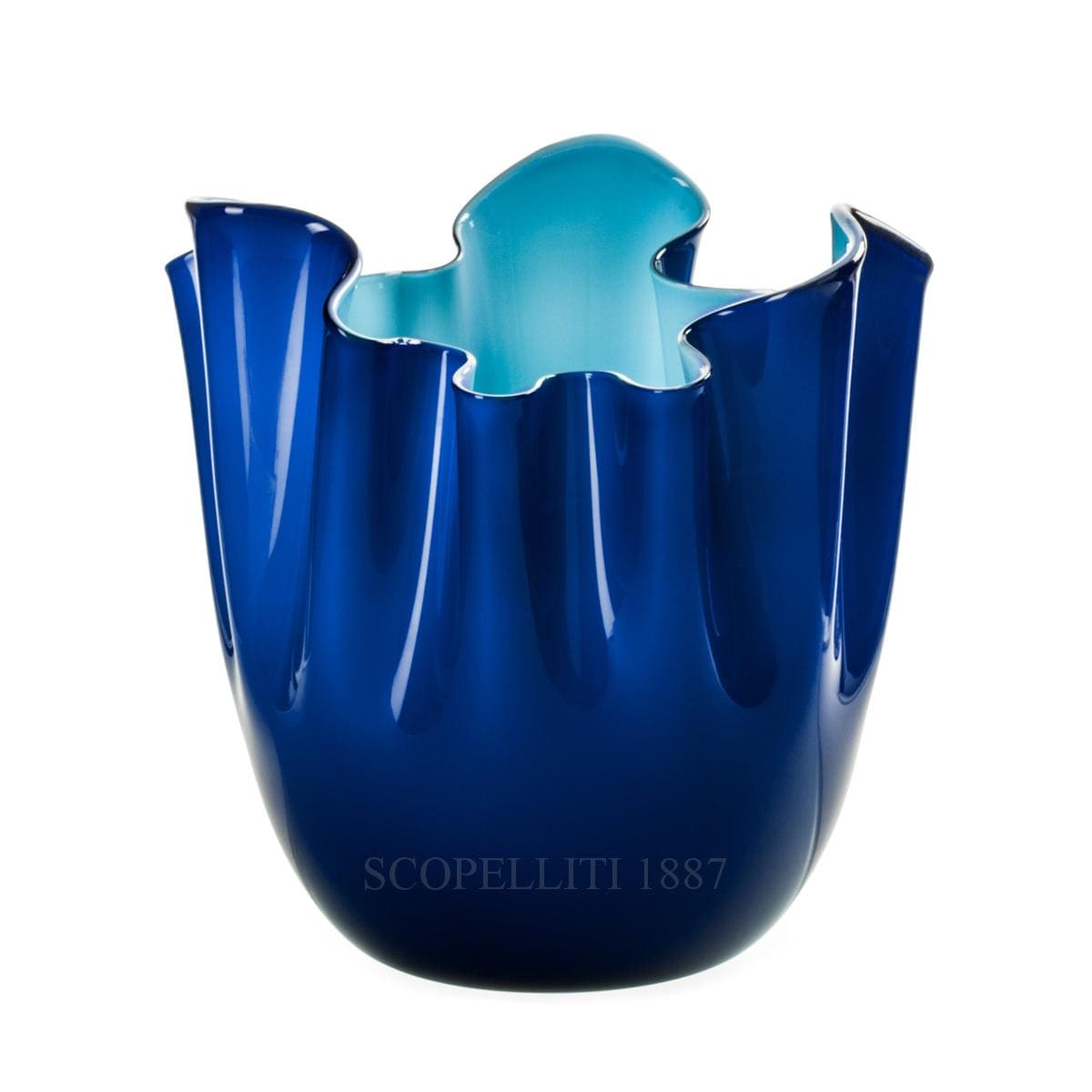 fazzoletto venini vase murano glass blue