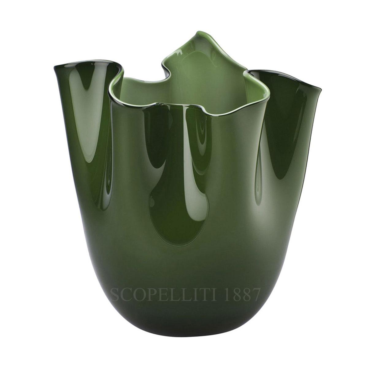 fazzoletto venini murano glass vase green