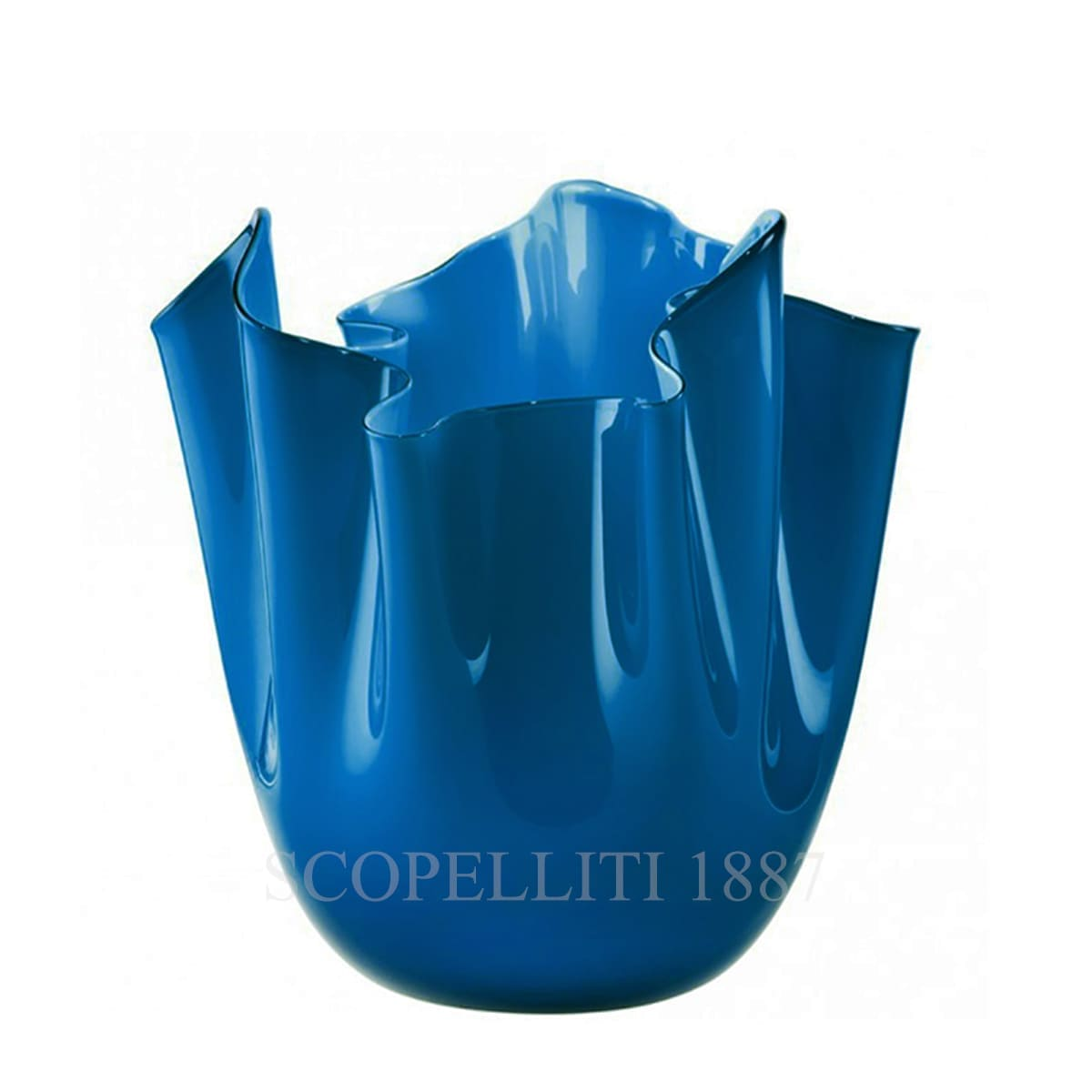 fazzoletto venini murano glass blue vase