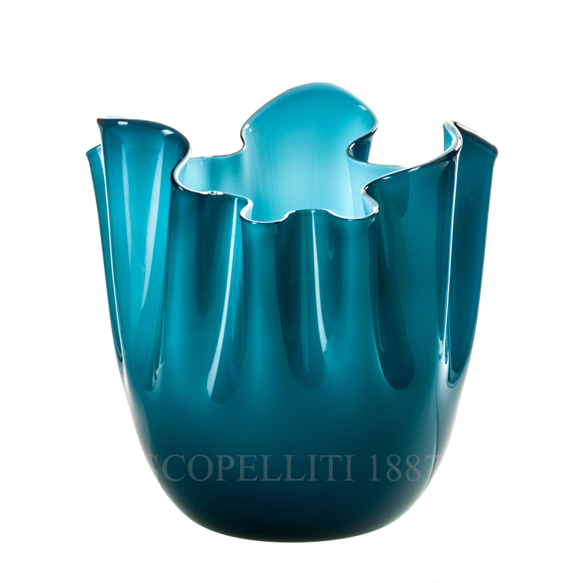 fazzoletto venini murano glass vase blue sea horizon