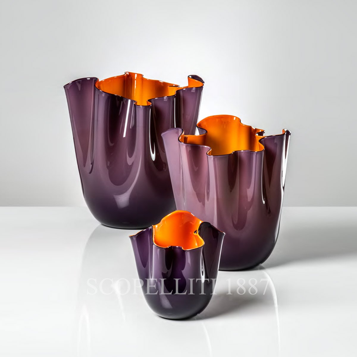 Venini Fazzoletto Vase medium indigo orange 700.02 NEW