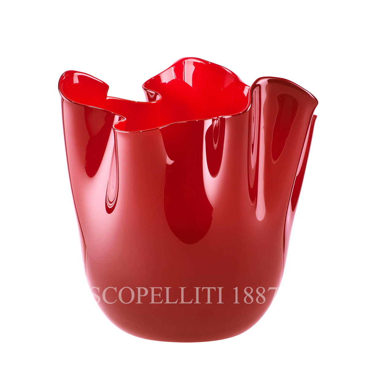 Venini Fazzoletto Vase medium red 700.02