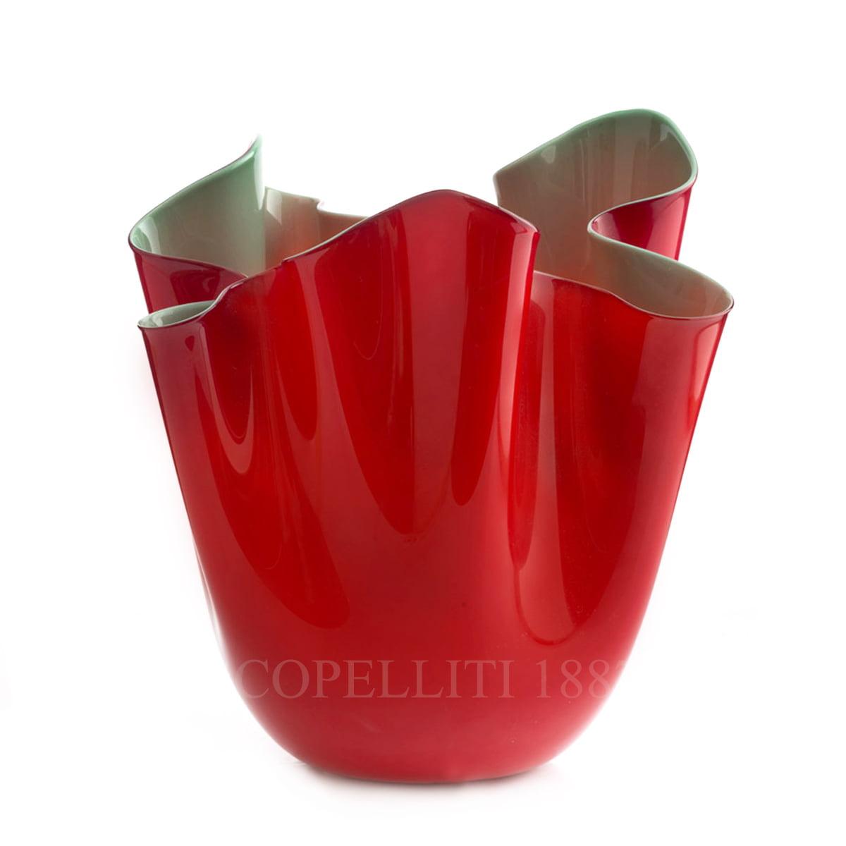 fazzoletto venini murano glass vase red green