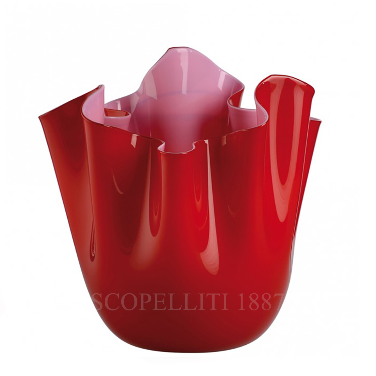 fazzoletto venini murano glass vase red