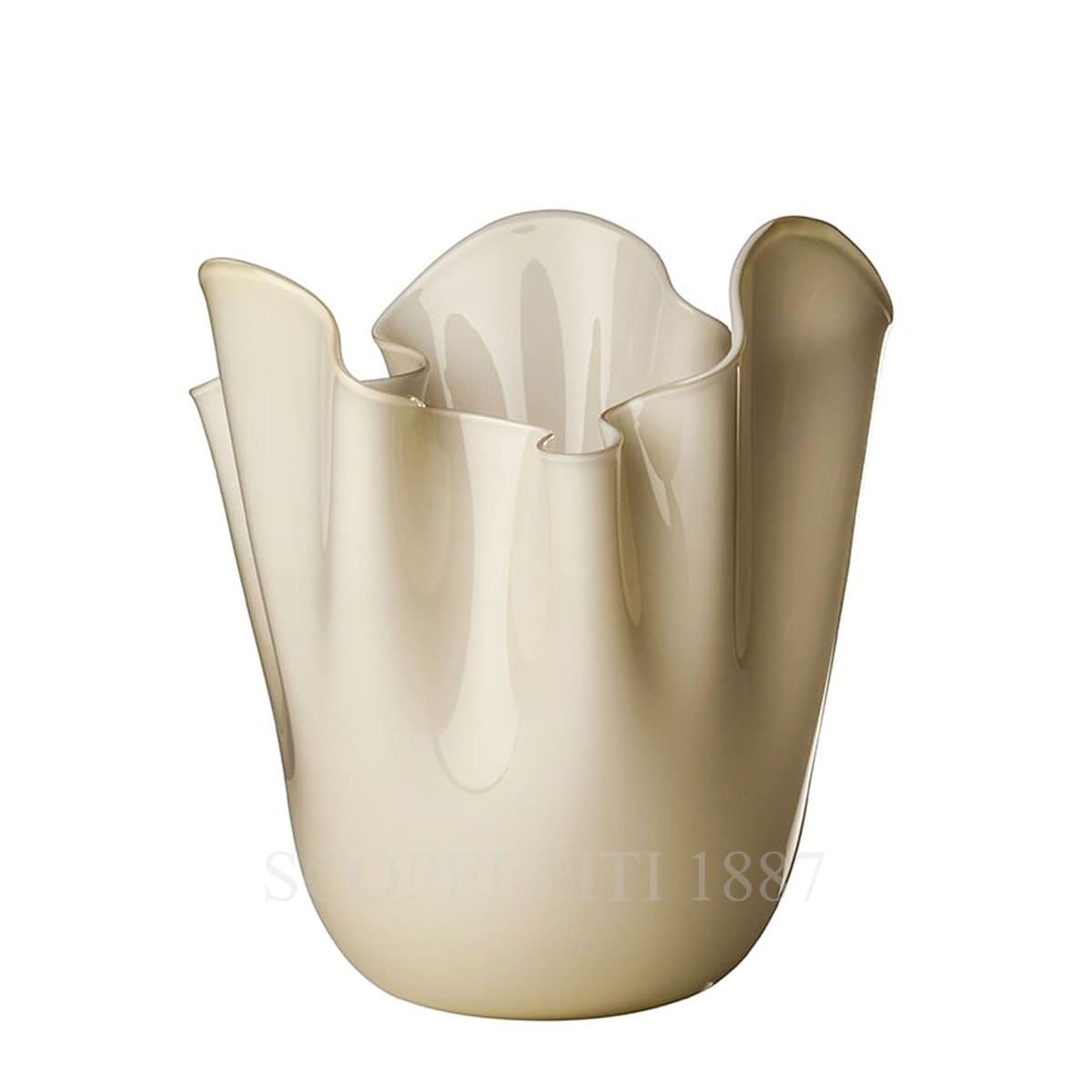 fazzoletto venini vase murano glass avory