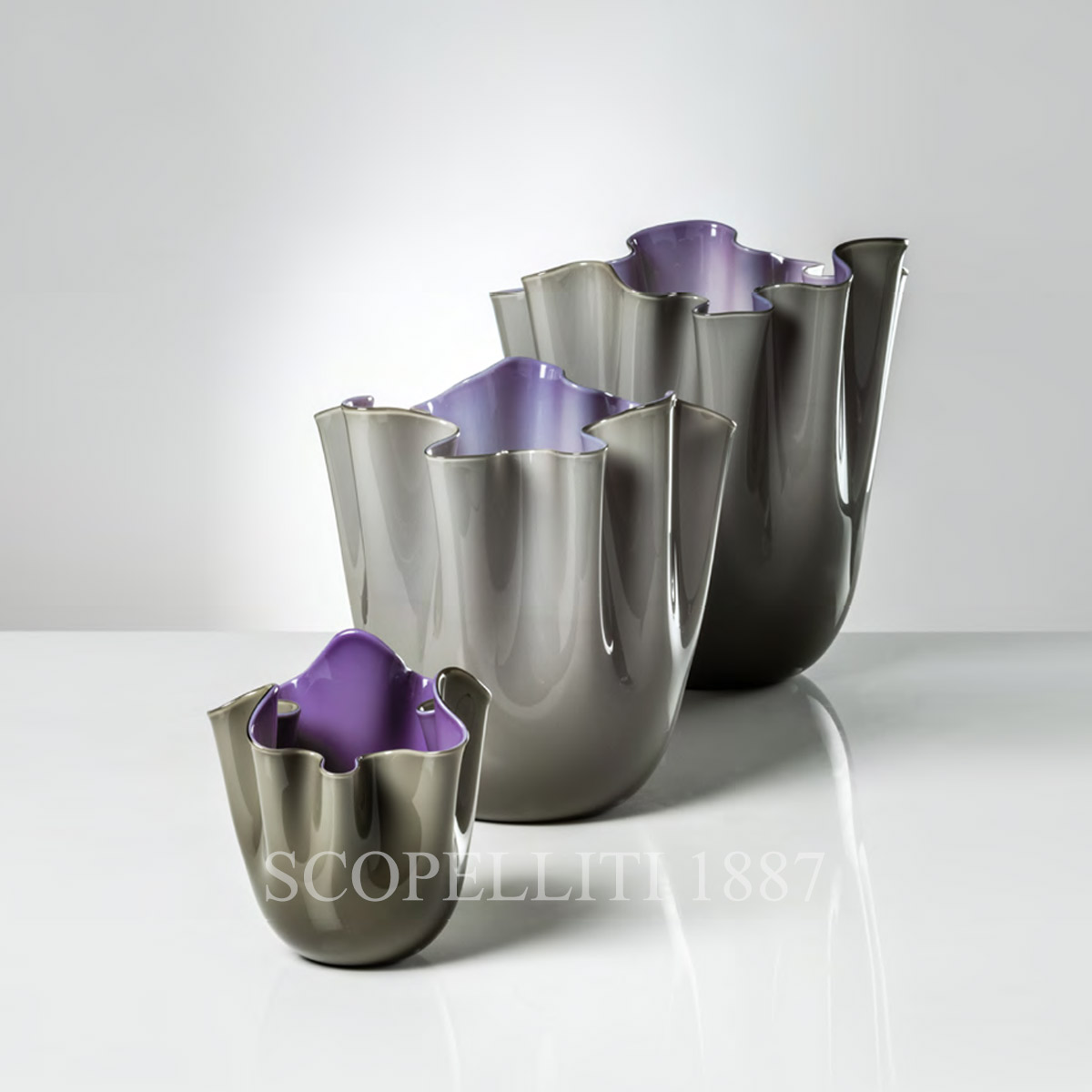fazzoletto venini murano glass new vases grey indigo