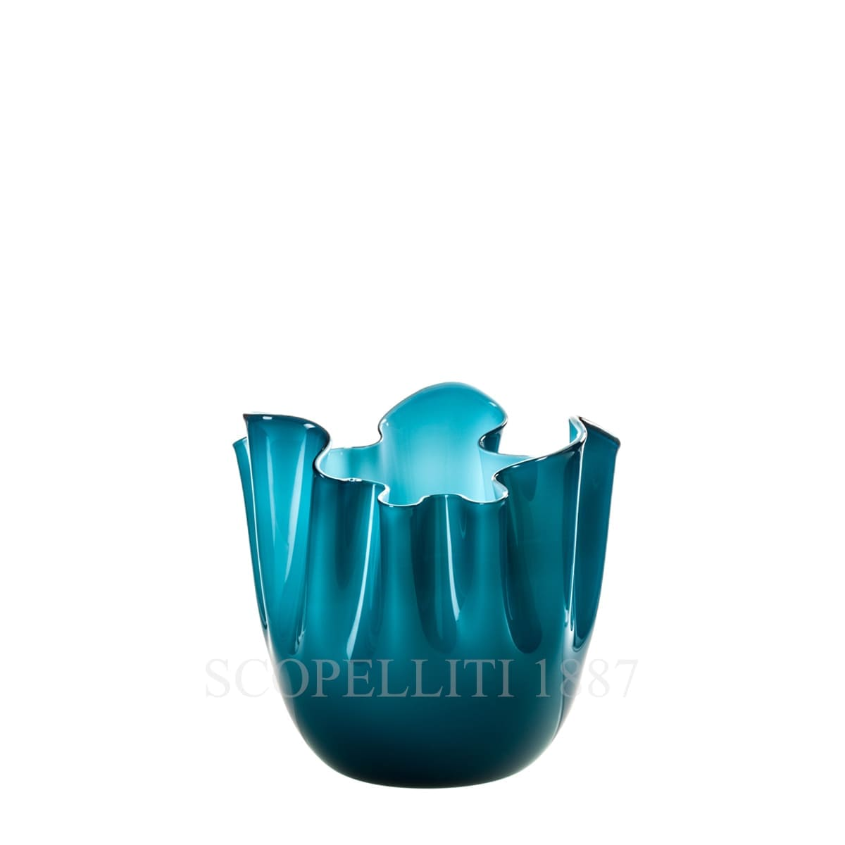 Venini Fazzoletto Vase small horizon/aquamarine 700.04