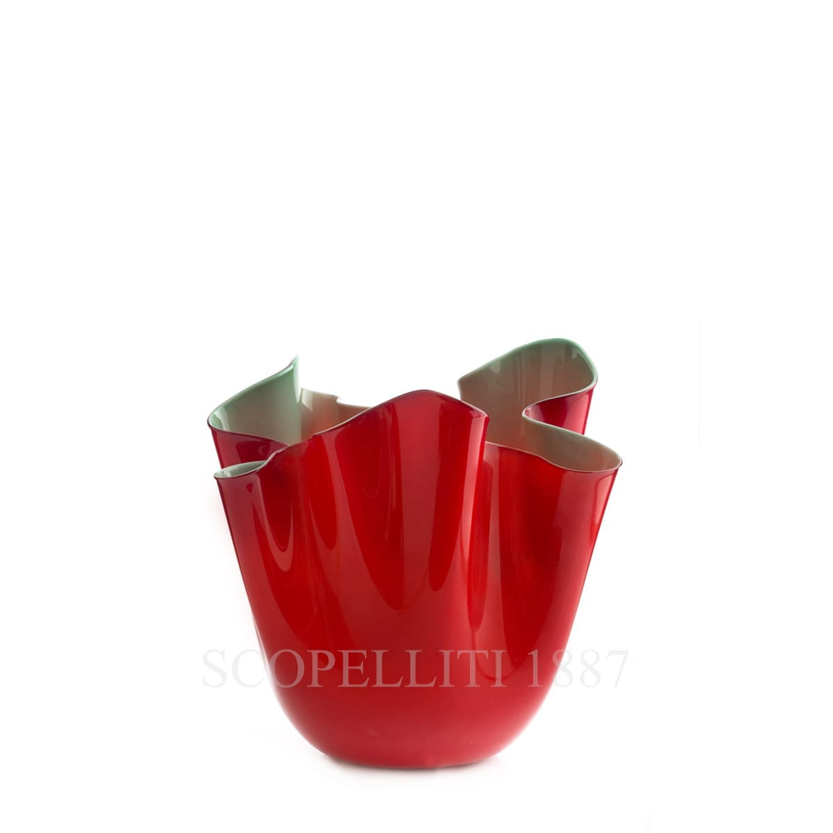 fazzoletto venini small vase red green