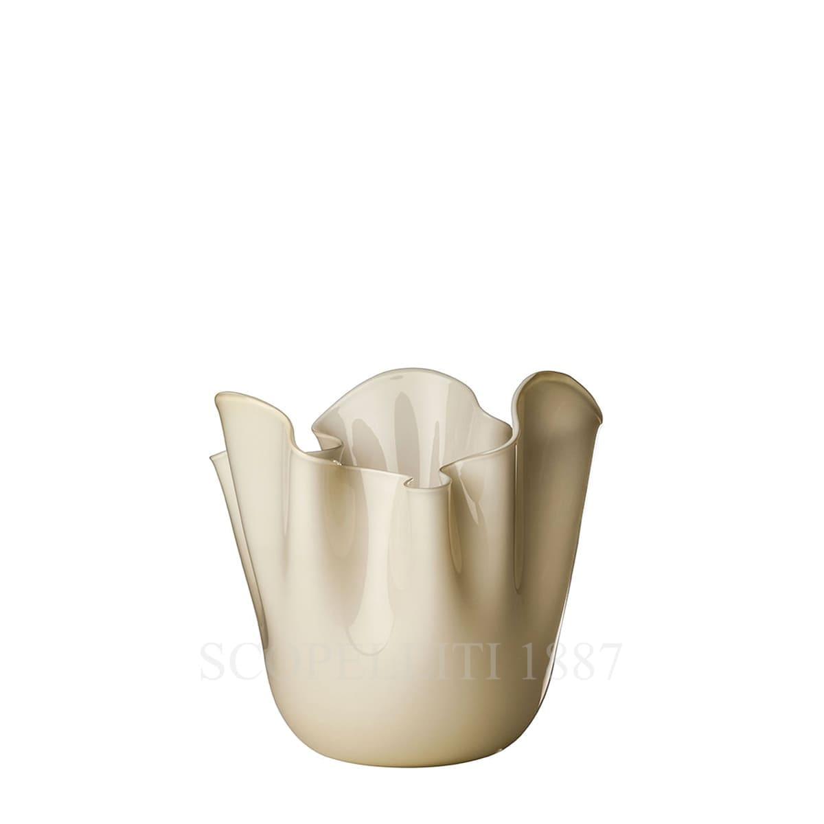 fazzoletto venini murano glass vase avory