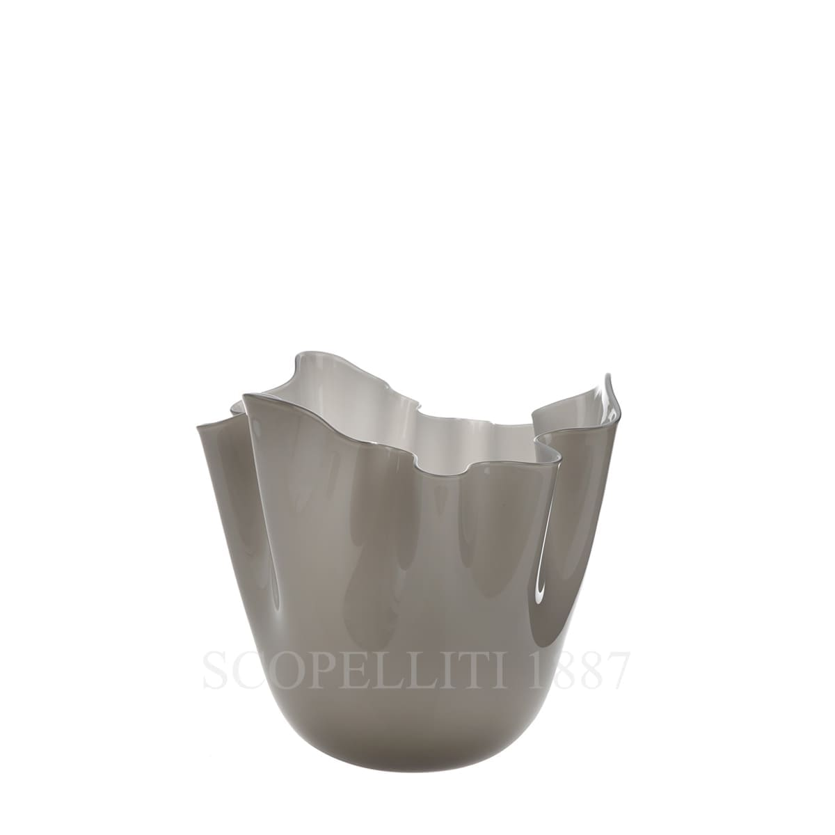 fazzoletto venini murano glass vase grey