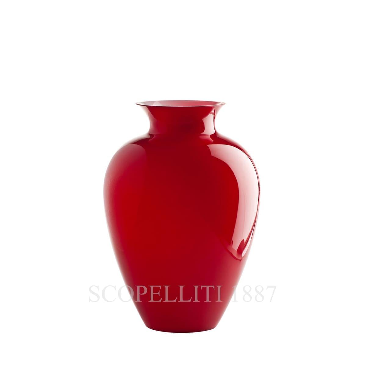 venini labuan italian designer murano glass vase red