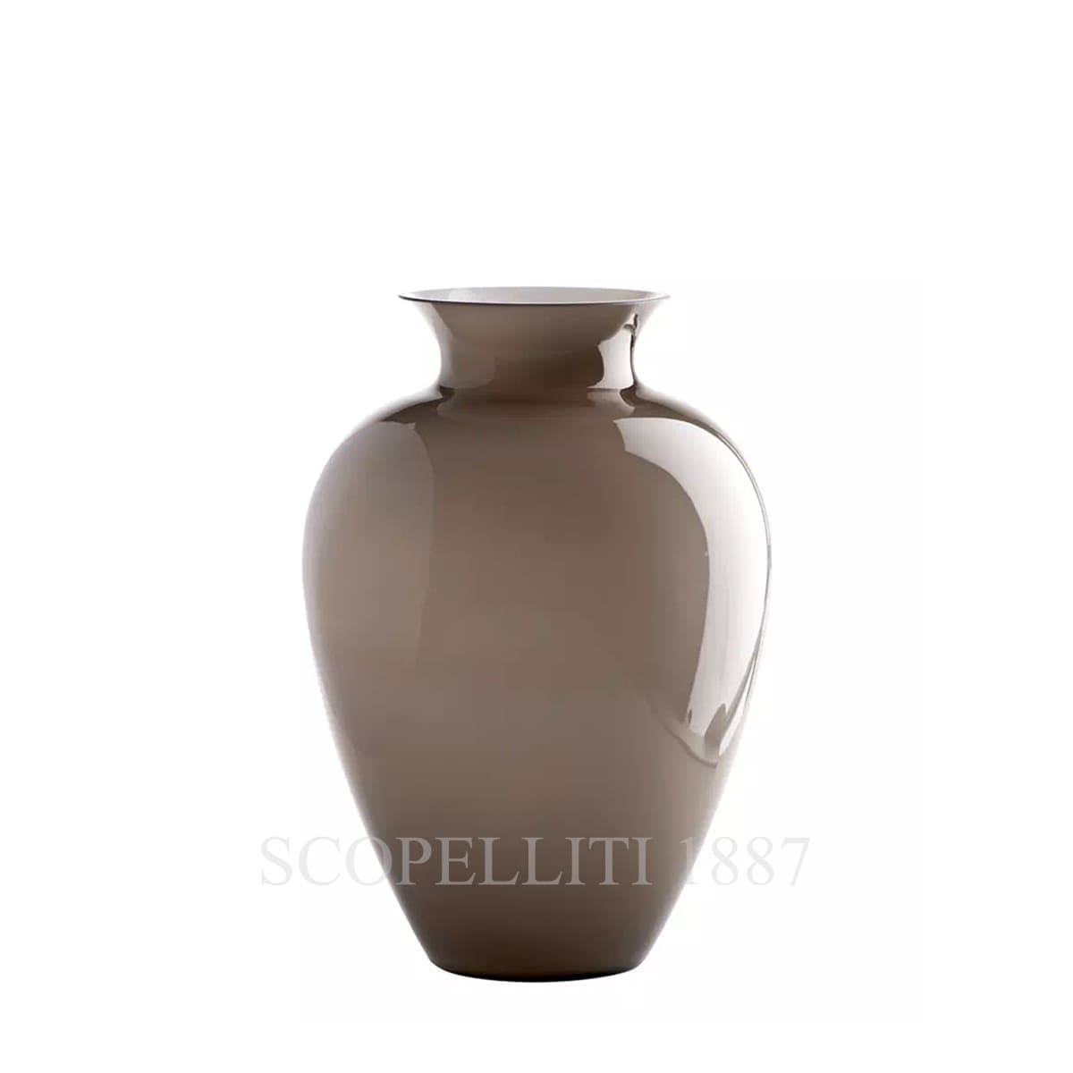 venini labuan italian designer murano glass vase taupe