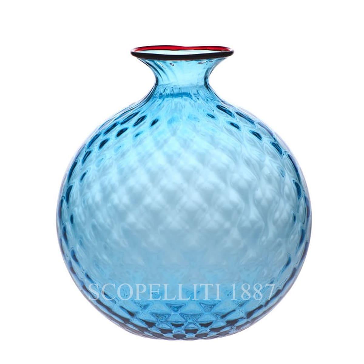venini murano glass italian monofiore balloton vase limited edition aquamarine