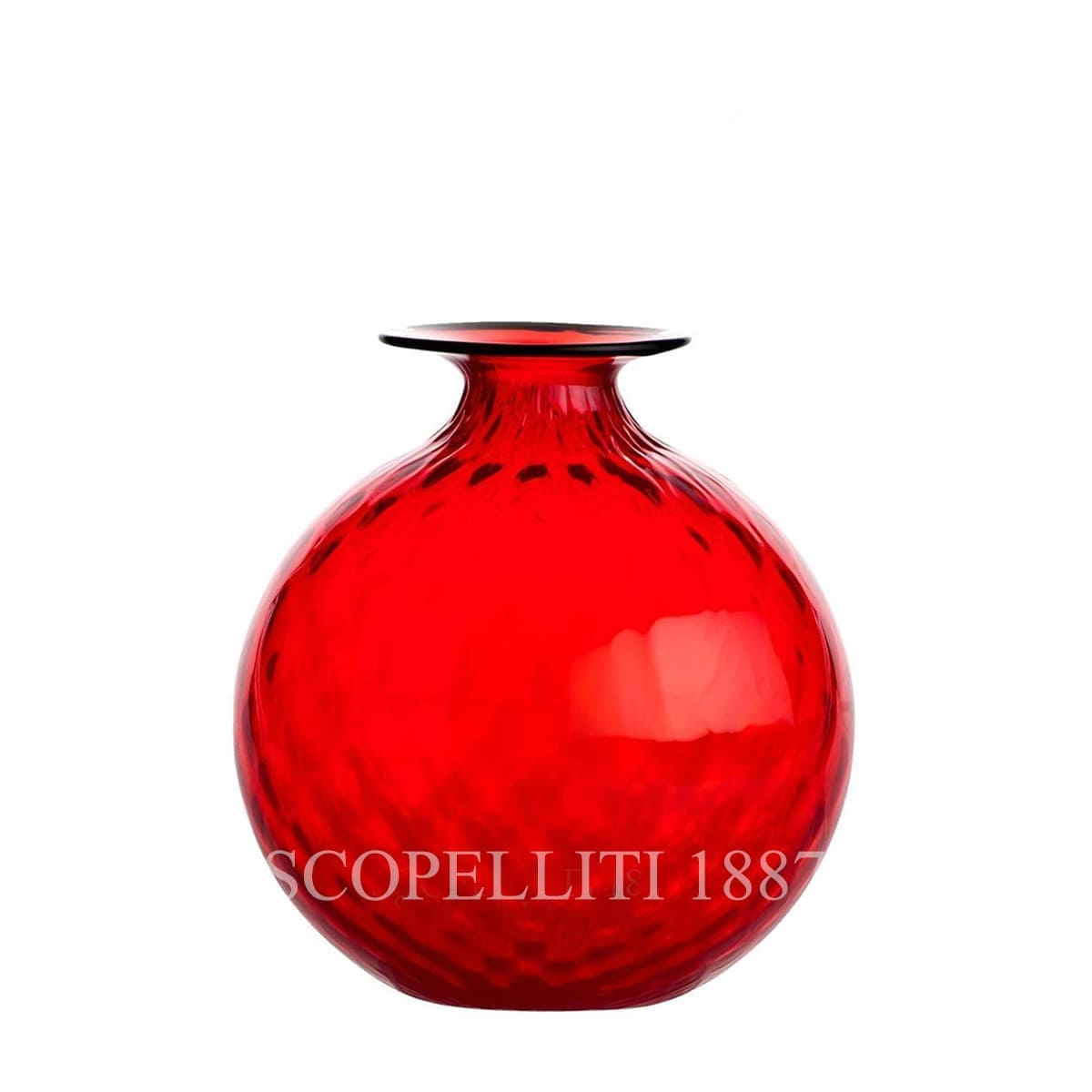 venini murano glass italian monofiore balloton vase limited edition red